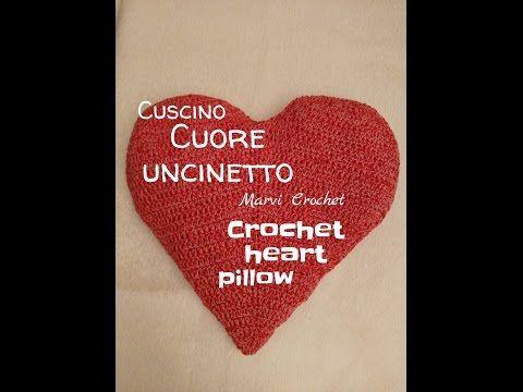 tutorial cuscino cuore uncinetto,crochet heart pillow - YouTube