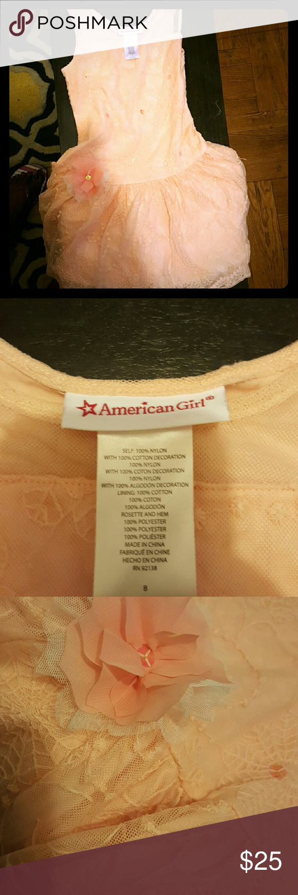 American Girl Size Small Peach Dress w Flower Peach A line dress with mesh overlay, sequins, flower, size small.  Beautiful - Worn once American Girl Dresses Formal
