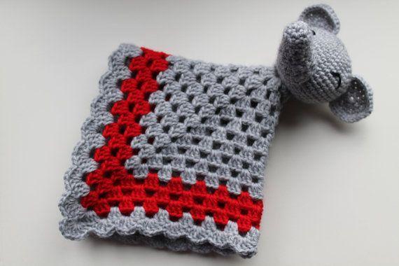 Crochet elephant baby lovey / sevurity blanket