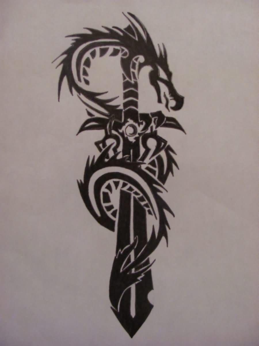 Dragon Sword Tribal Tattoo Design Tribal Tattoos Tribal Tattoo Designs Dragon Tattoo With Sword