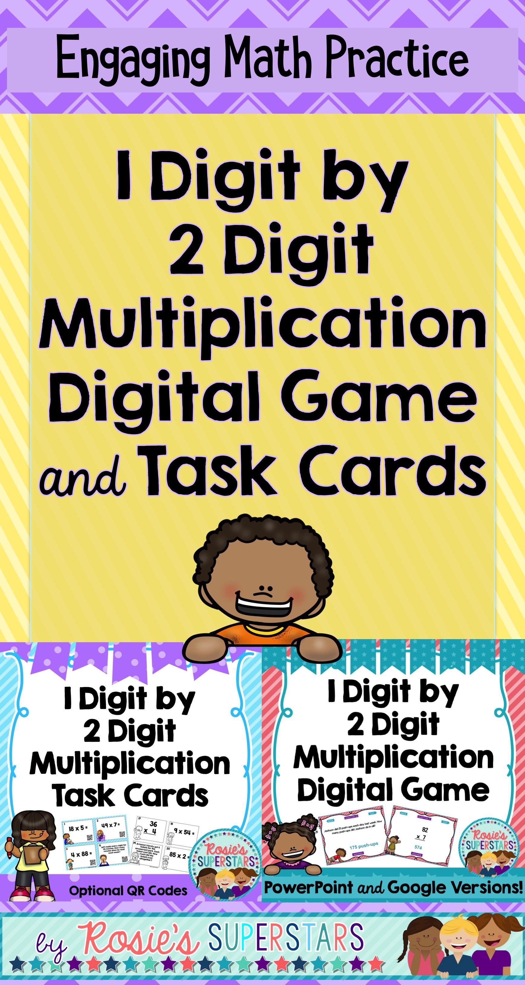Multiplication Bundle 2 Digit By 1 Digit Task Cards And Digital Game