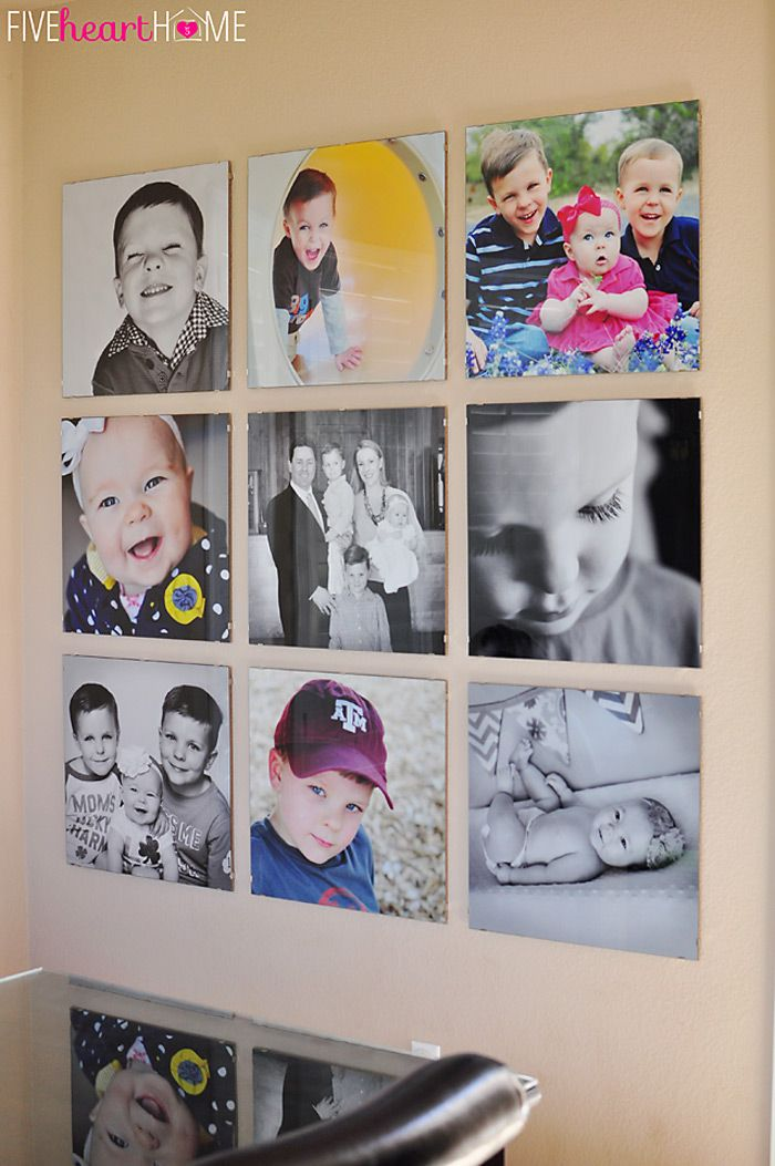 Family Photo Wall ~ Gallery of 20-inch Square Frames   Photo wall ...