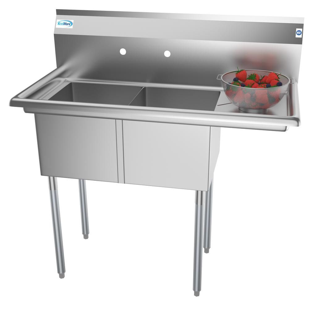 Koolmore Freestanding Stainless Steel 43 In 2 Hole Double Bowl Commercial Kitchen Sink Cs214 12y In 2020 Commercial Kitchen Refinish Kitchen Cabinets Commercial Sink