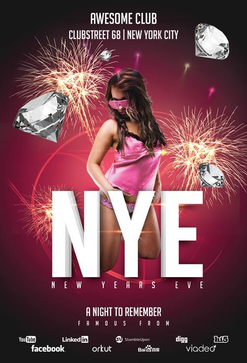 New Years Eve Club Free Flyer Template - http\/\/freepsdflyer - free new years eve flyer template
