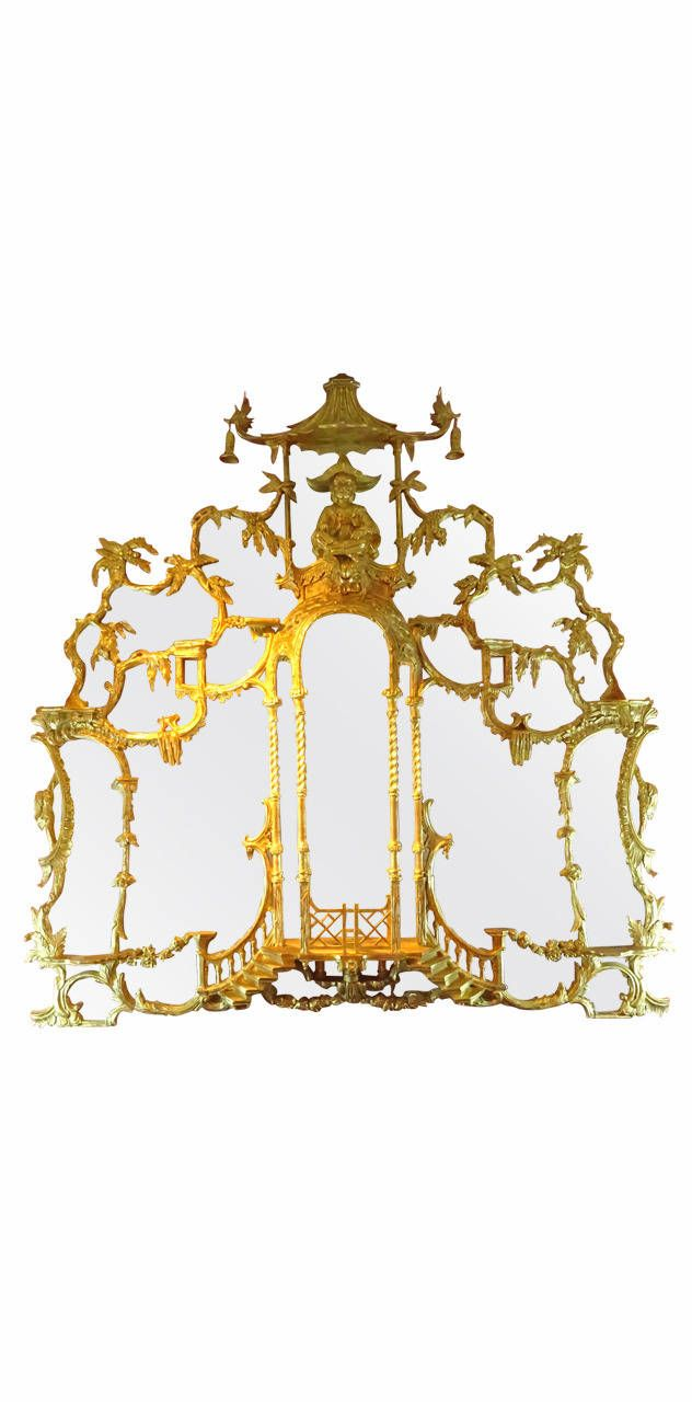Pair of Chinoiserie Style Gilt Mirrors inspired by the Doris Duke Collection