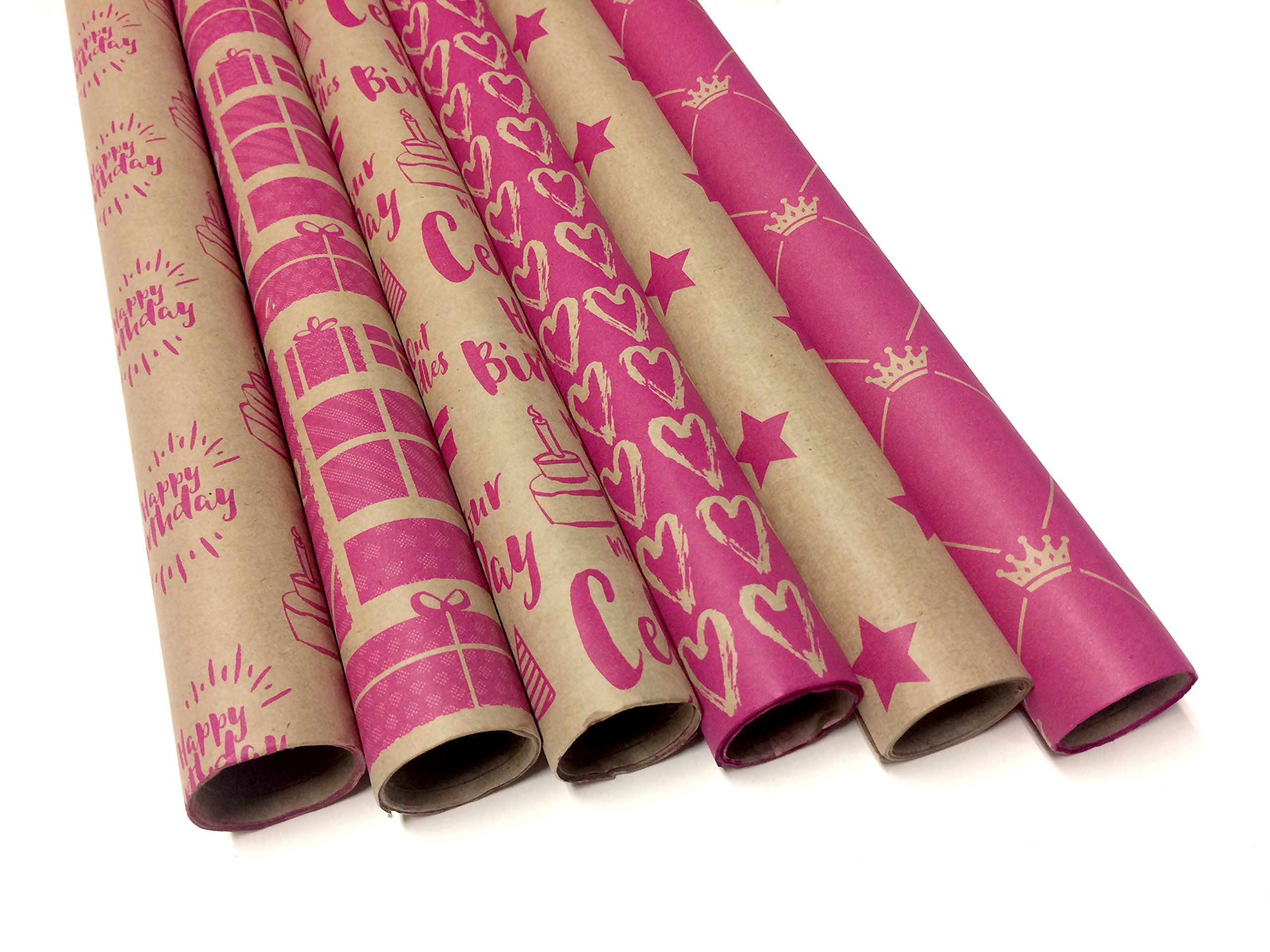 Kraft And Pink Wrapping Paper Set 6 Rolls 6 Birthday Patterns 30 X 120 Per Roll Ad Paper Aff Set Wrapping K Pink Wrapping Paper Pattern Pink