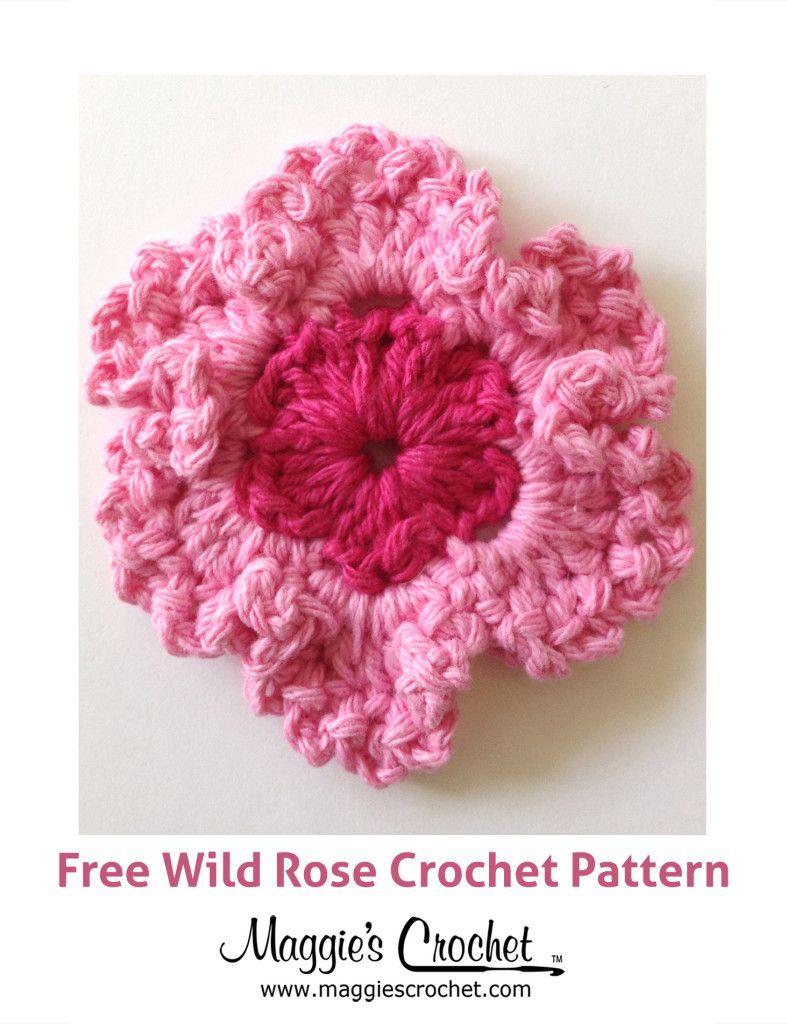 Wild Rose Free Crochet Pattern   *~CROCHETiNG & iDEAS~*   Pinterest