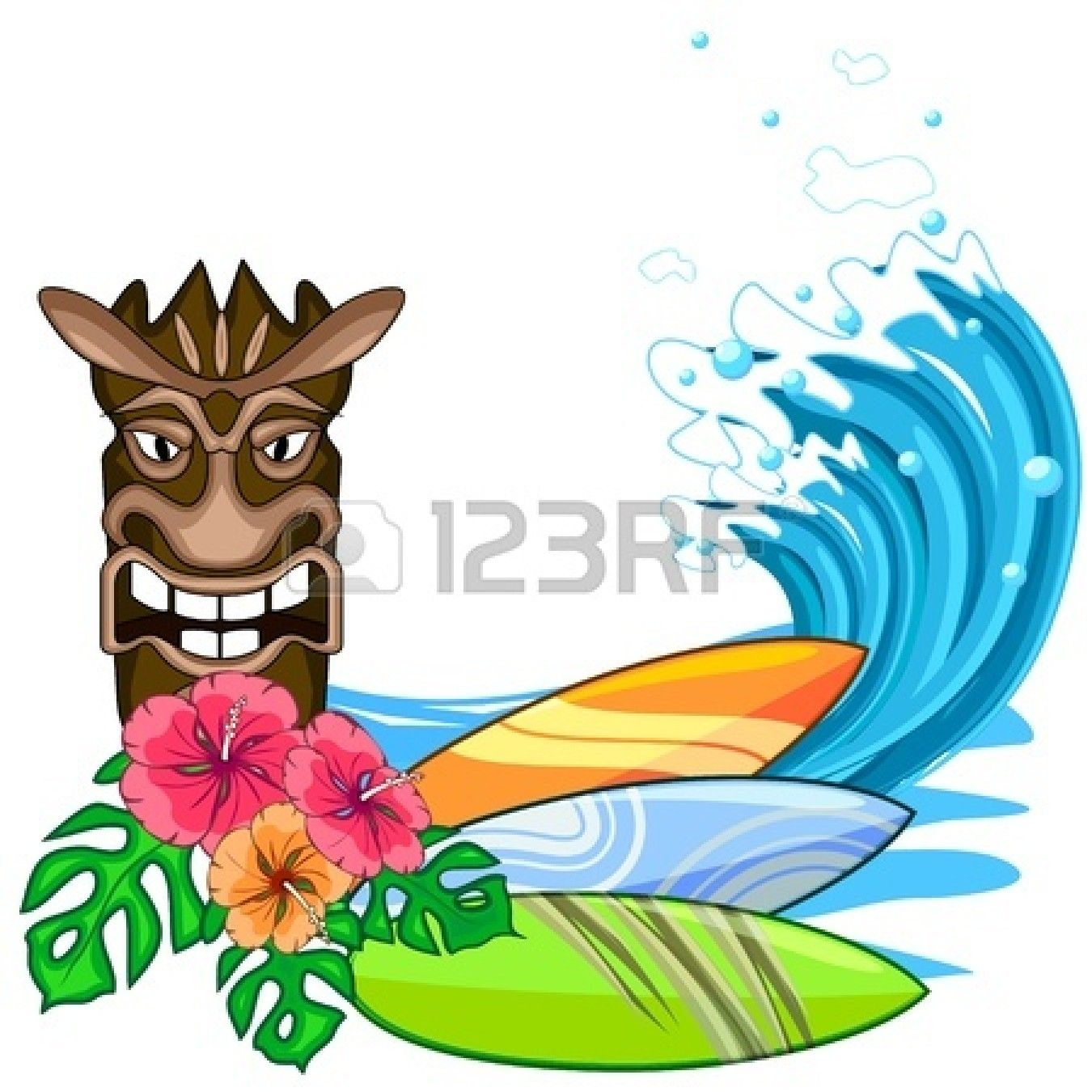 Tiki Surfboard Clipart LUAU PARTY