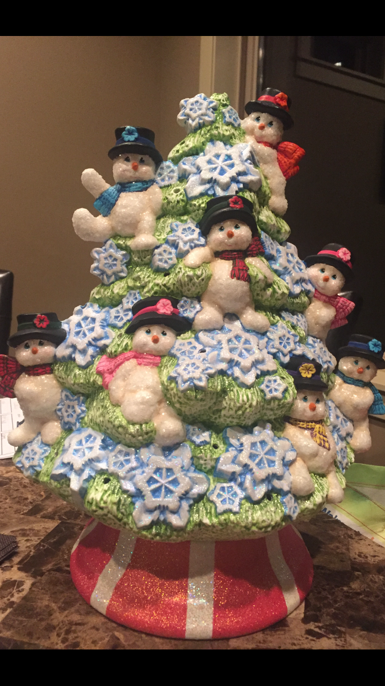 Ceramic Snowman Christmas Tree Christmas Light Ornament Christmas Tree Painting Snowman Christmas Tree