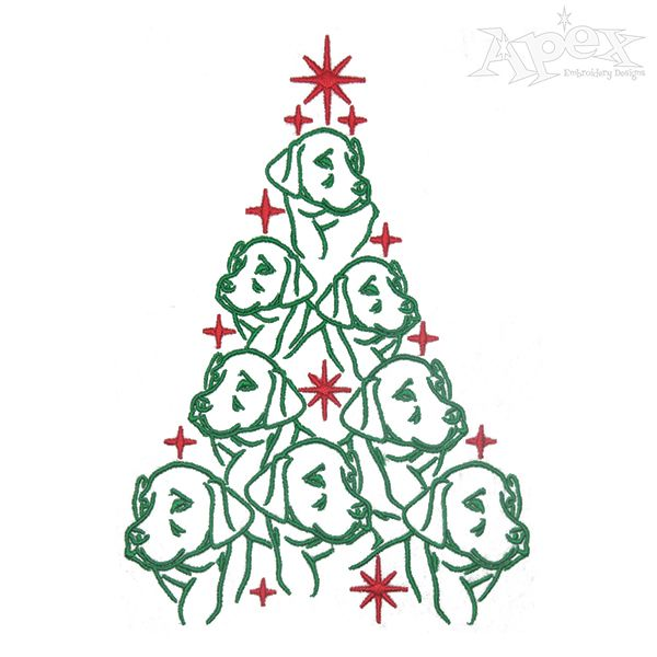 Dog Labrador Christmas Tree Embroidery Design Christmas Tree Embroidery Design Christmas Embroidery Designs Embroidery Designs