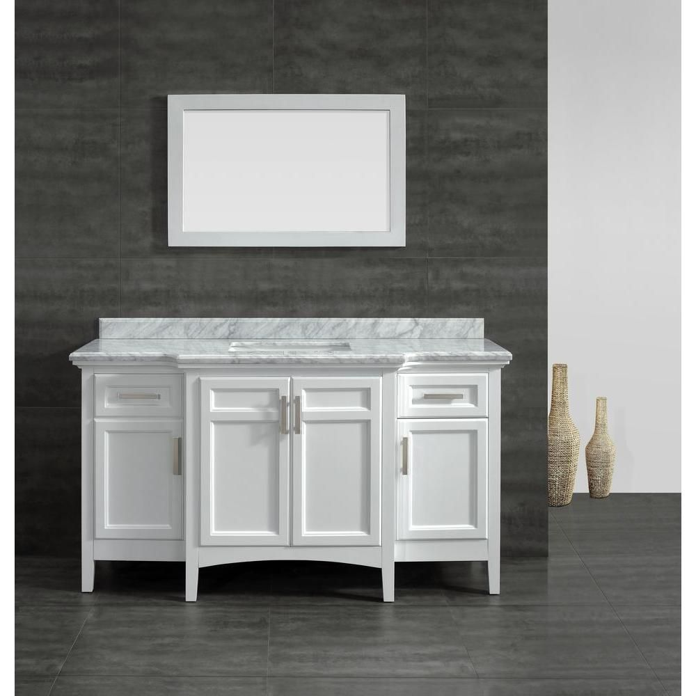 Null Sassy 60 In. Vanity In White With Marble Vanity Top In Carrara White