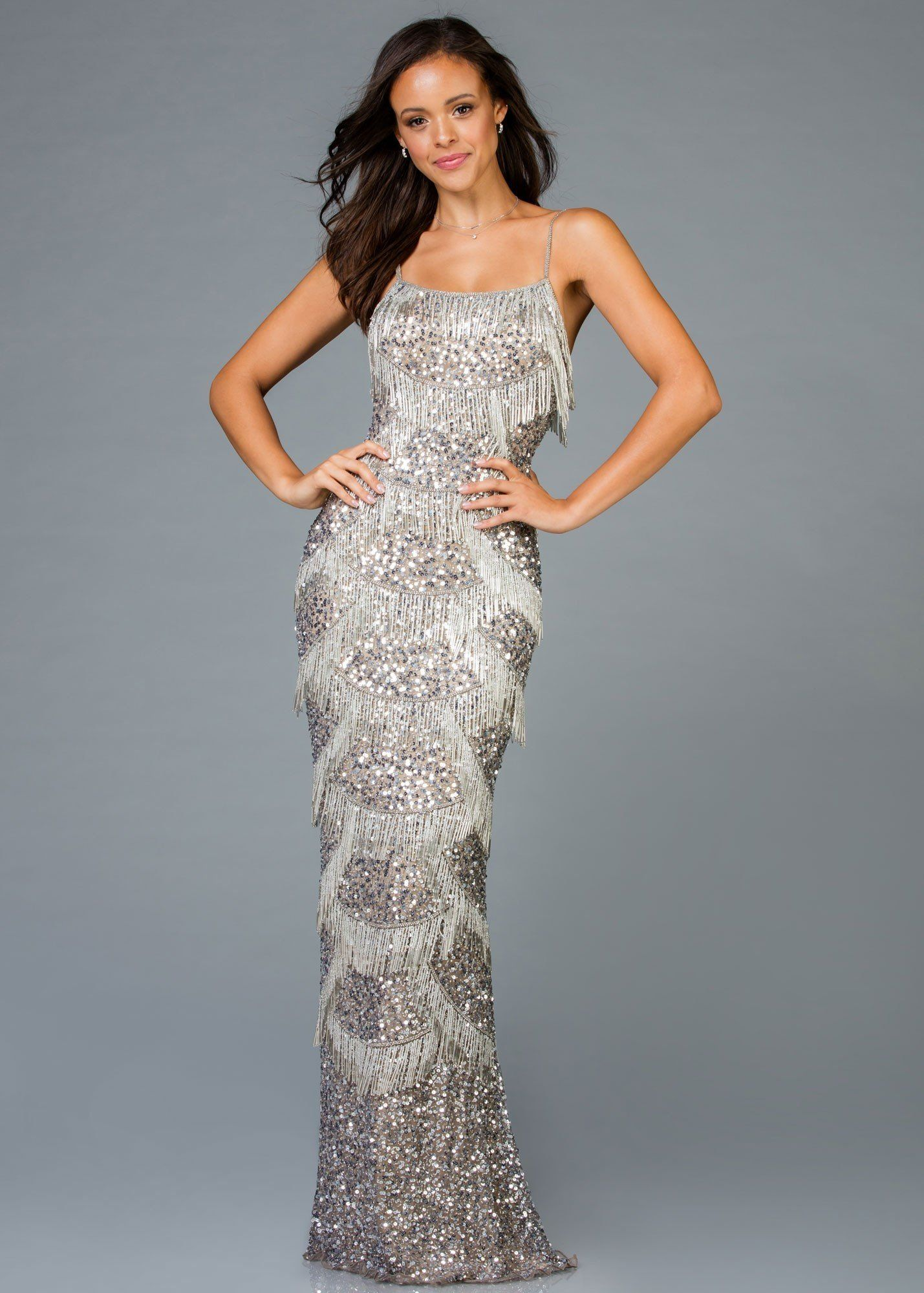 55757d41171ec Scala 48934 Scalloped Fringe Sequin Gown in 2019 | 2019 Prom Dresses ...