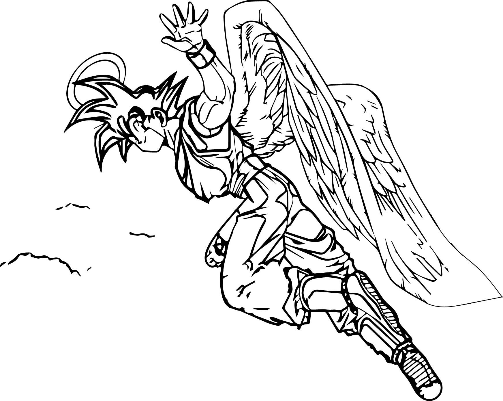 Awesome Goku Angel Coloring Page