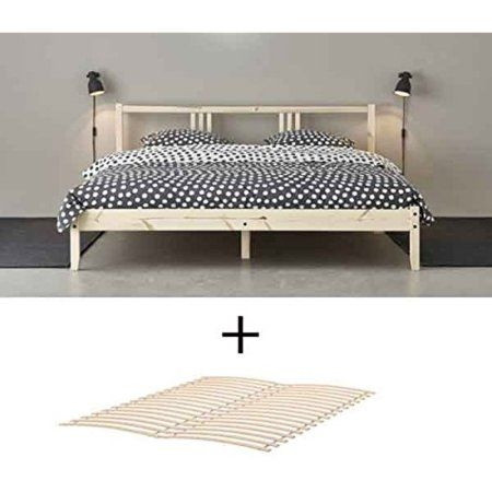 Ikea Wood Full Double Bed Frame With Slatted Base Natural Birch