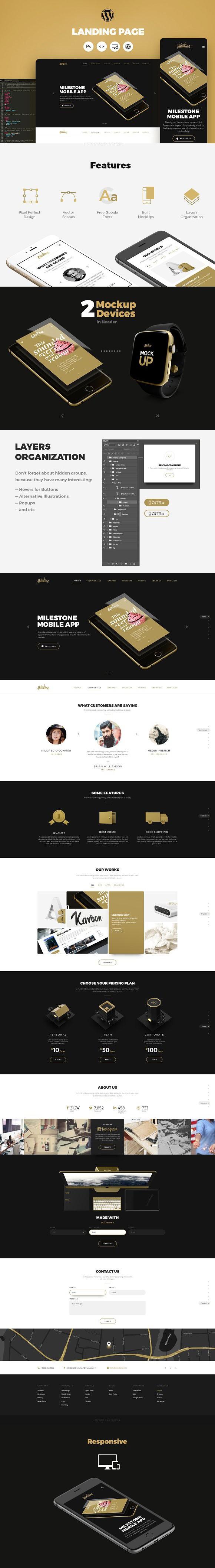 Milestone Portfolio Landing Page WordPress Portfolio Themes