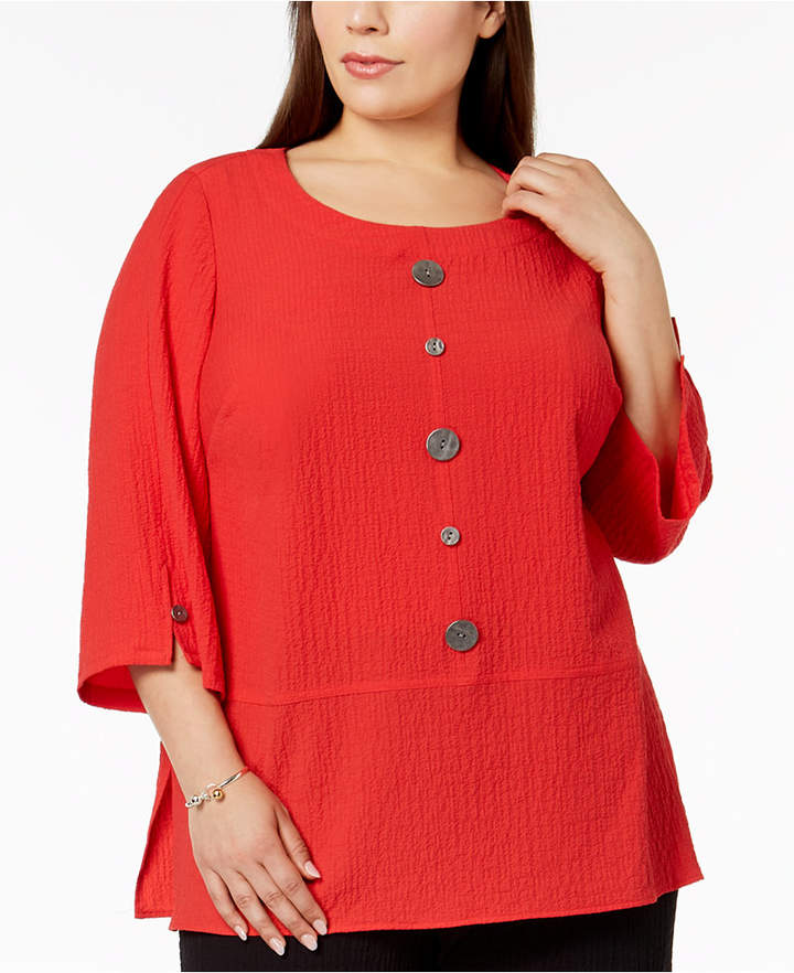 c479d9a3e6ab14 JM Collection Plus-Size Crinkled Button-Detail Top, Created for Macy's