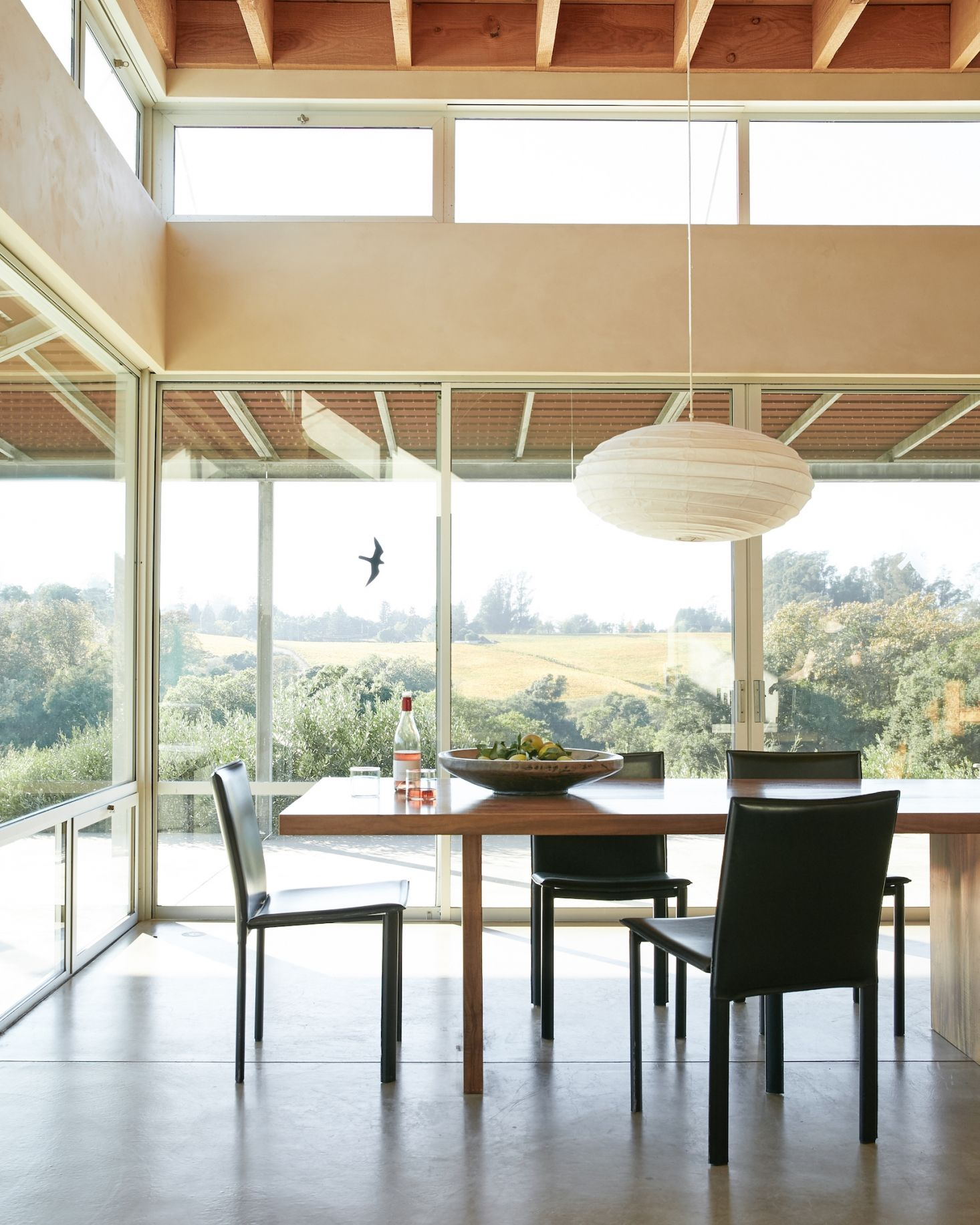 Next to the kitchen is the open plan dining room perched on the