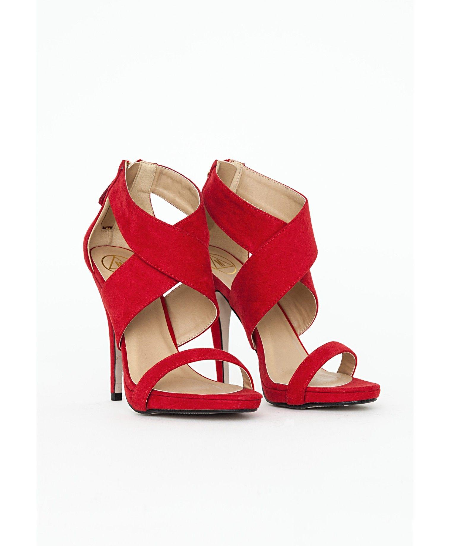 sandales hautes brides crois es rouges chaussures talons hauts missguided 01 todress. Black Bedroom Furniture Sets. Home Design Ideas