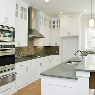 Inspirational Gray Countertops with White Cabinets