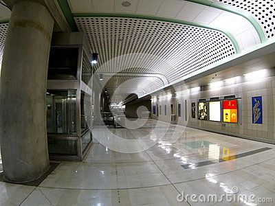 Downtown subway station empty during December holiday season