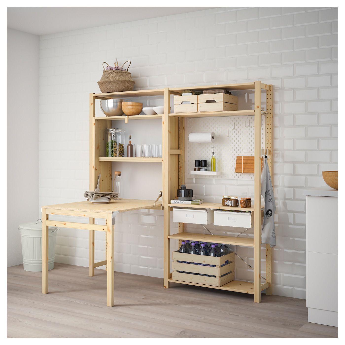 Ivar 2 Section Unit With Foldable Table Pine White Ikea In 2020 Fold Up Desk Ikea Ivar Ikea Shelving Unit