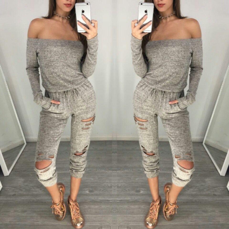 Rocky Grey Off Shoulder Jumpsuit Trendy Clothes For Women Online Womens Clothing Off Shoulder Jumpsuit