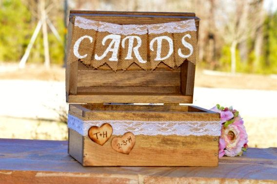 rustic card box, burlap and lace wedding decor, country wedding card box, barn reception decor