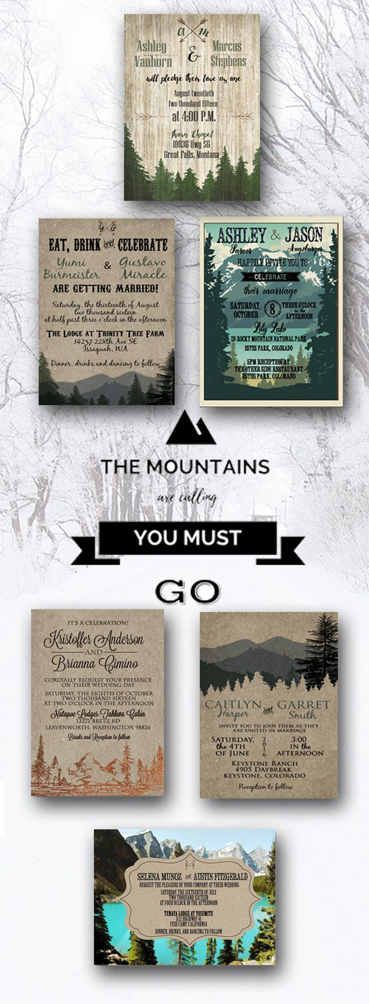 Woodsy Outdoor Woodland Mountains Camping Wedding Invitations By