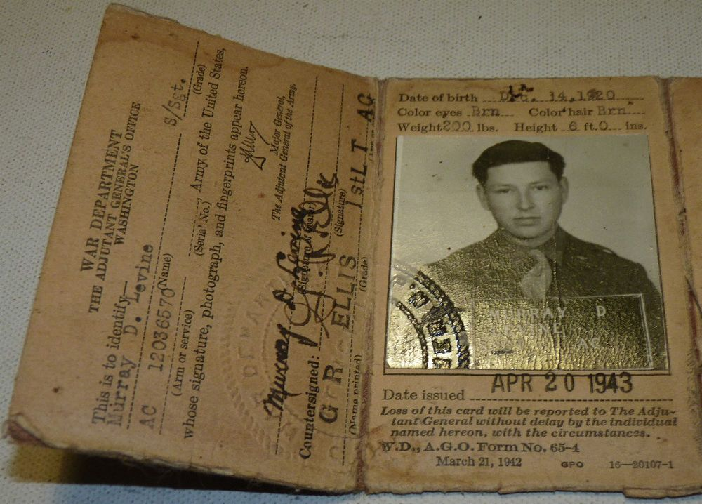 ww2 wwii world war 2 us army 1943 war department picture id card b4