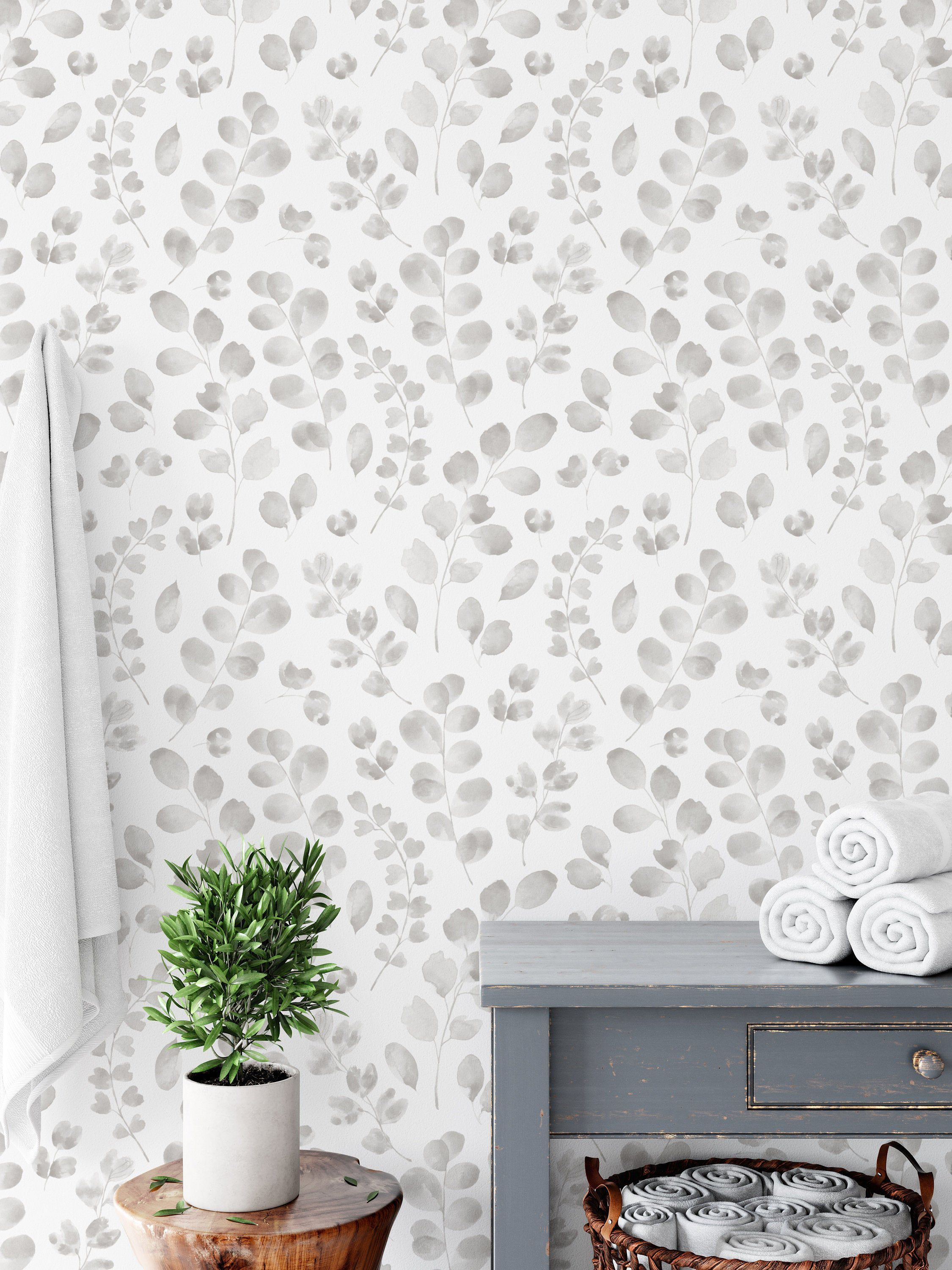 Warm Grey Floral Wallpaper Light Pastel Watercolor Peel And