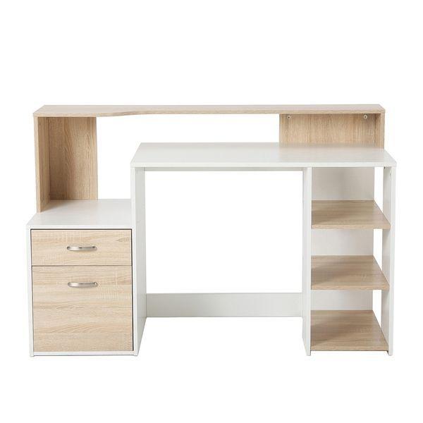 "HomCom 55"" Multi Shelf Modern Home Office Desk With"