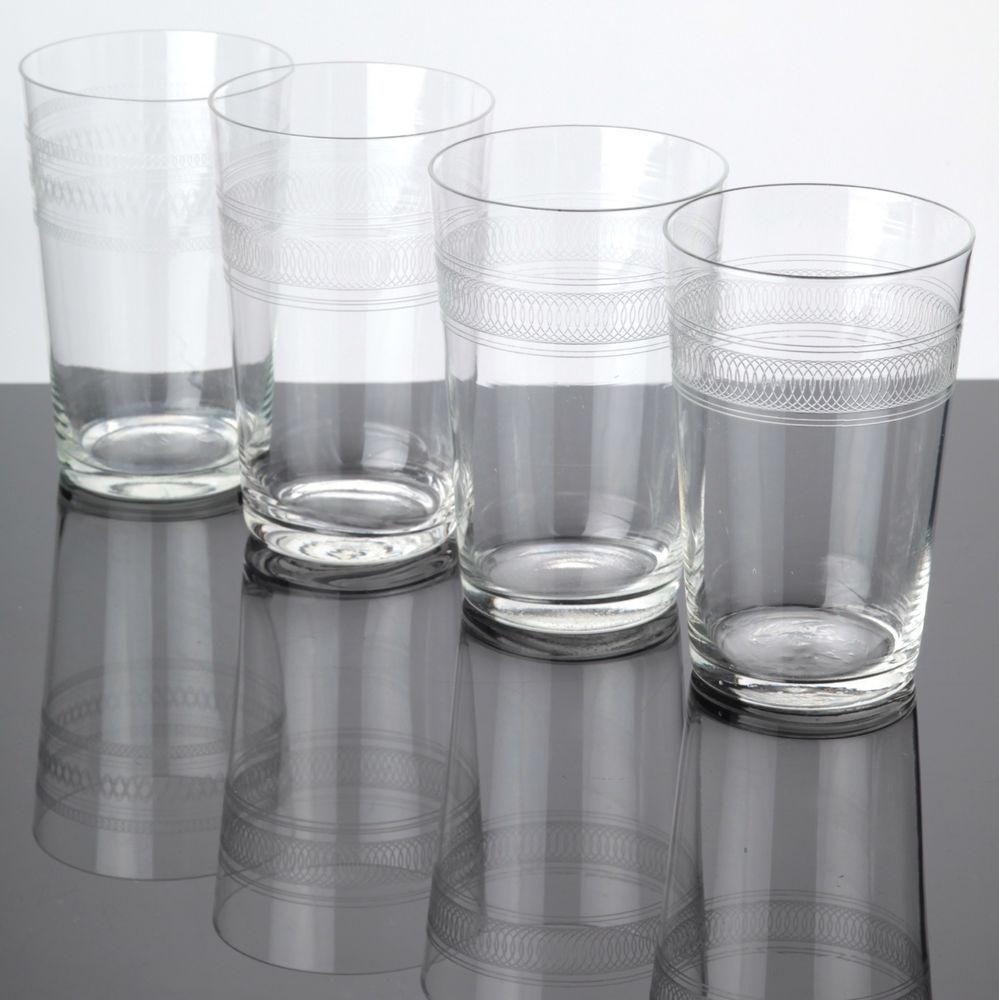 Wassergläser details zu 4 zarte becher gläser ätzdekor glas wassergläser