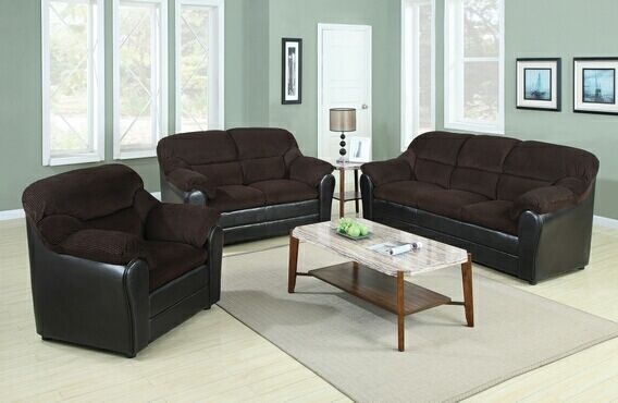 Leather sofa and Upholstered Chairs