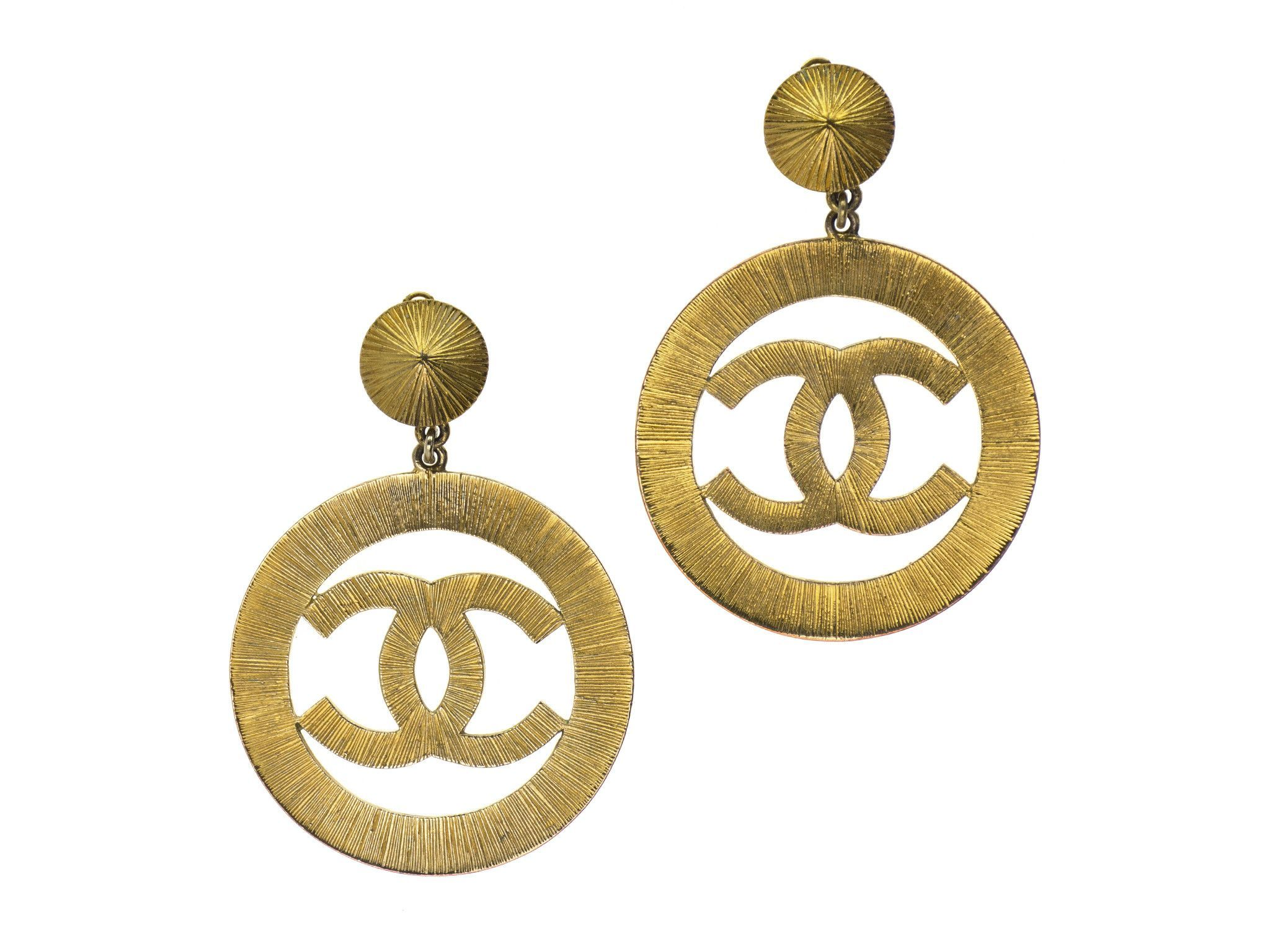 Chanel Vintage Oversized CC Logo Earrings