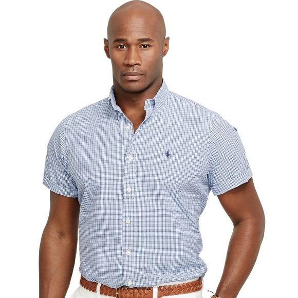 Polo Ralph Lauren Big & Tall Checked Poplin Shirt Big & Tall Checked Poplin Shirt, Blue Tattered, brand new, never worn. 2XLT Polo by Ralph Lauren Tops