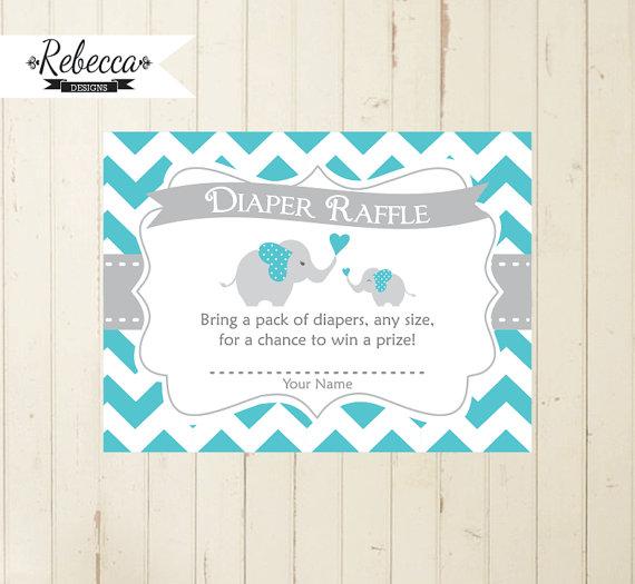 elephant diaper raffle boy baby shower card matching elephant, Baby shower invitations