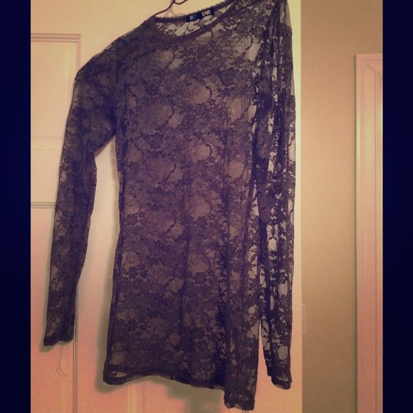 Sexy grey lace top Tight fitting and see through, very pretty! Dark grey lace, where any color underneath. Tops Blouses