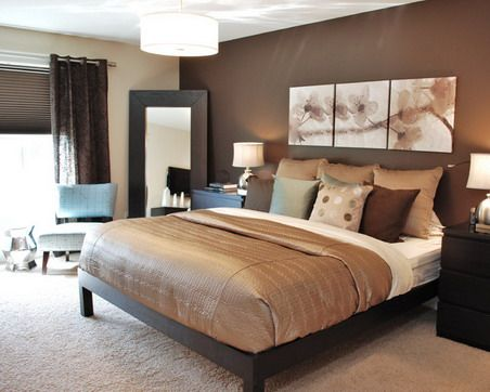 Brown Modern Bedroom Design Ideas with Abstract Flowers Wall Art
