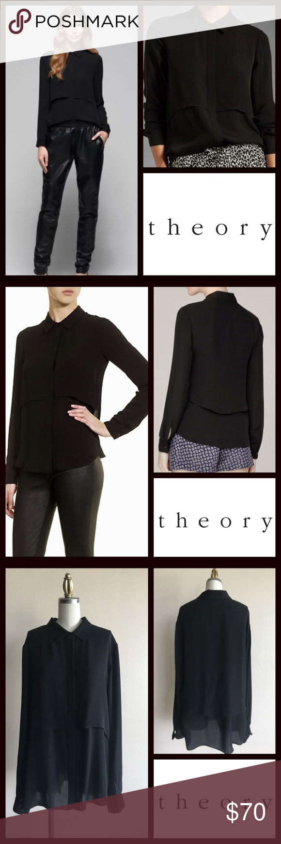 """New Listing! Theory Double Silk Rosita Blouse Classic Theory Black Silk Georgette Double Layered Rosita Blouse. Sold out on-line! Measurements Laying Flat; Shoulder-17"""" Bust-20"""" Sleeve-26"""" Length-27"""". Bottom of back collar to hem) Bundle & Save $$ Theory Tops Blouses"""