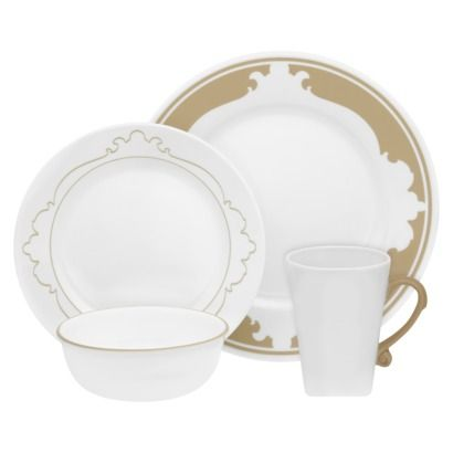 Corelle B Frames 16 Piece Dinnerware Set in taupe $69 99 at