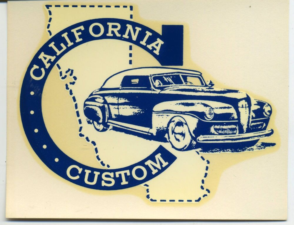 Vtg california custom water slide decal hot rod drag race speed shop