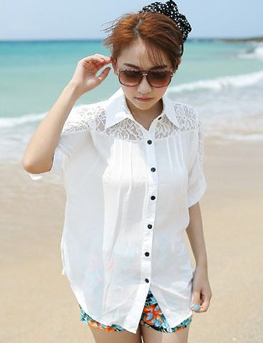 Sweet Crocheted Trim Short Sleeve Shirt For Women   Item Code 721727 at M.EastClothes.com