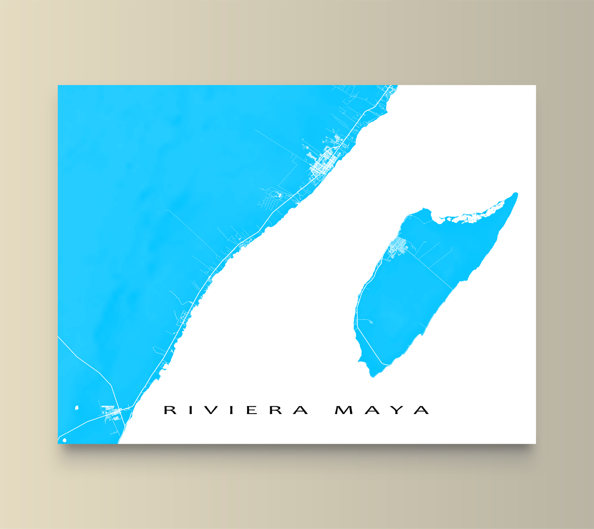 Riviera Maya Map Print Mexico Colors