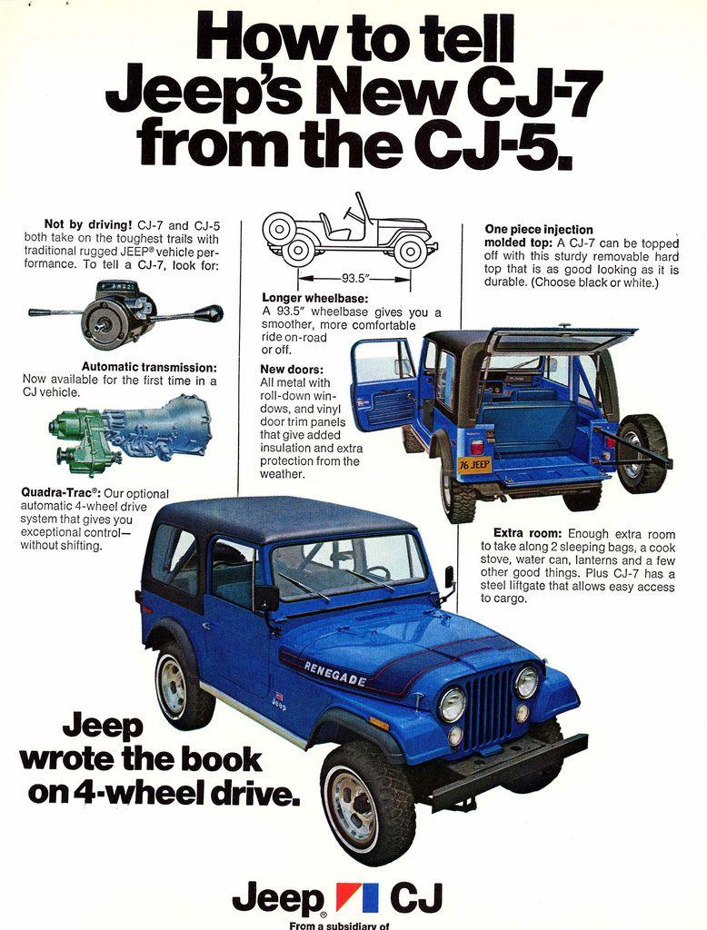 1976 Jeep Cj7 Vs Cj5 Identification Ad By Lee Ekstrom Jeep Cj Jeep Cj7 Vintage Jeep