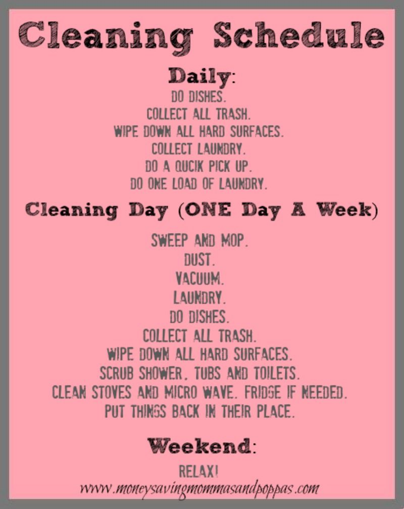 7 Days To A Clean House. A VERY detailed 7 day schedule