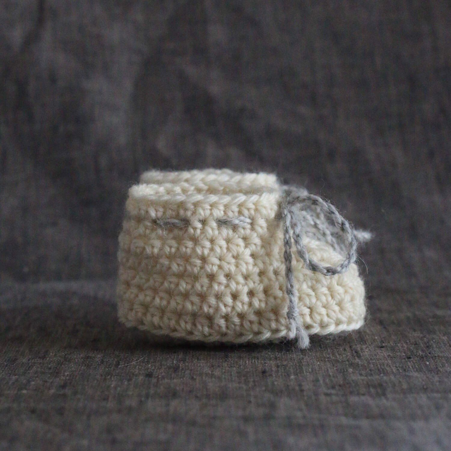 Crochet Baby Booties with Ties Gender Neutral Baby Shoes f