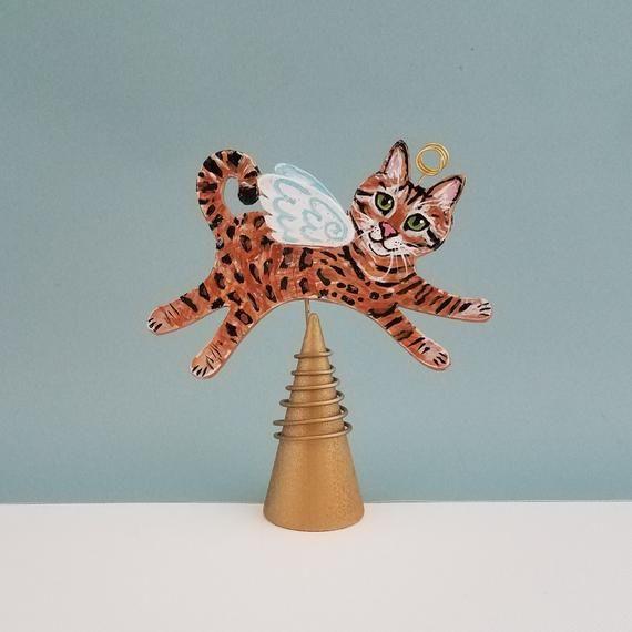 Cat Angel Christmas Tree Topper: Bengal Cat Angel Figurine Tree Topper