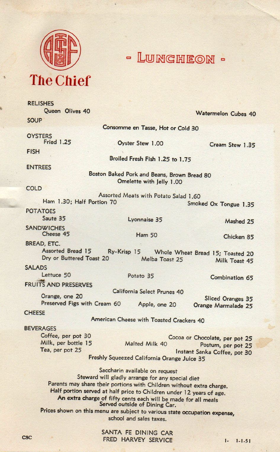 Dining Menu 1951 Lunch Menu From The Santa Fe Railroad Dining Car The Chief