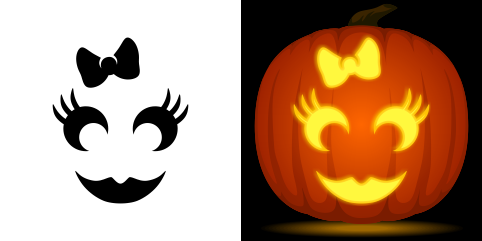 girly pumpkin carving stencil free pdf pattern to download and print at http