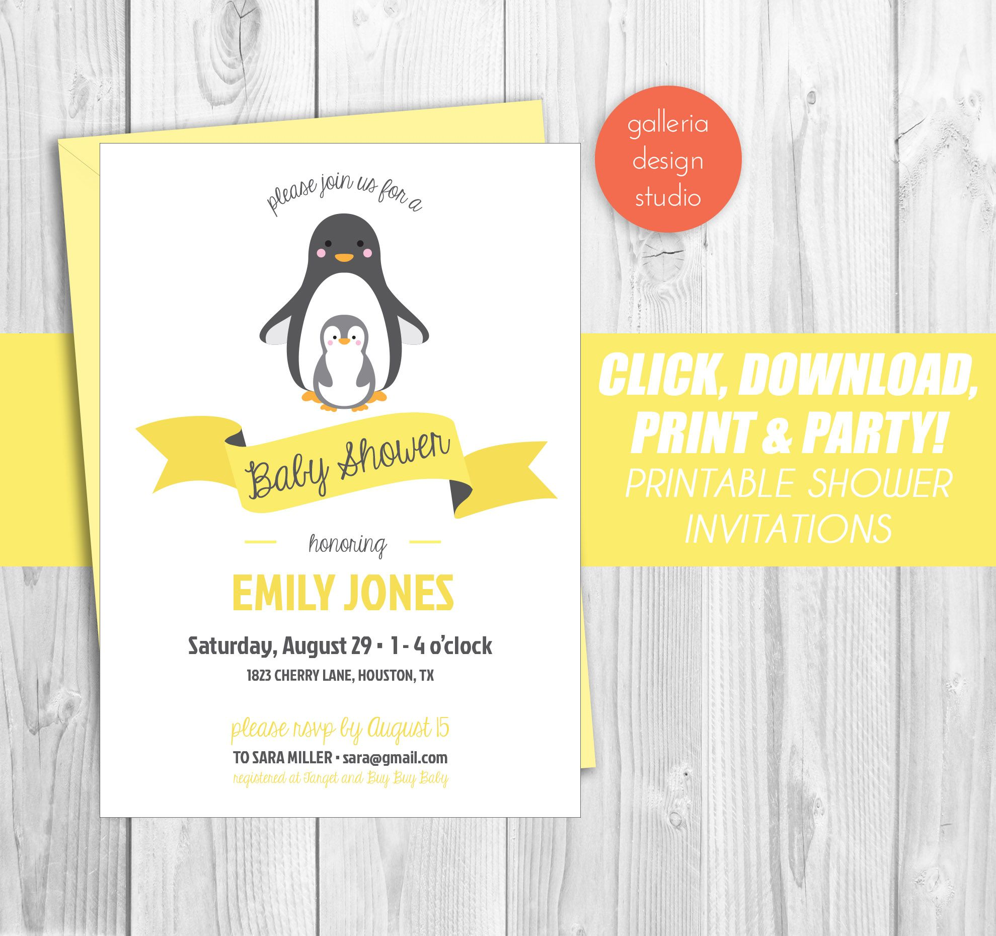 Simple and cute penguin baby shower invitation. Available in ...